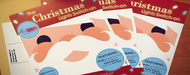 Christmas leaflets for HWBIDCo's Christmas Light's Switch On event